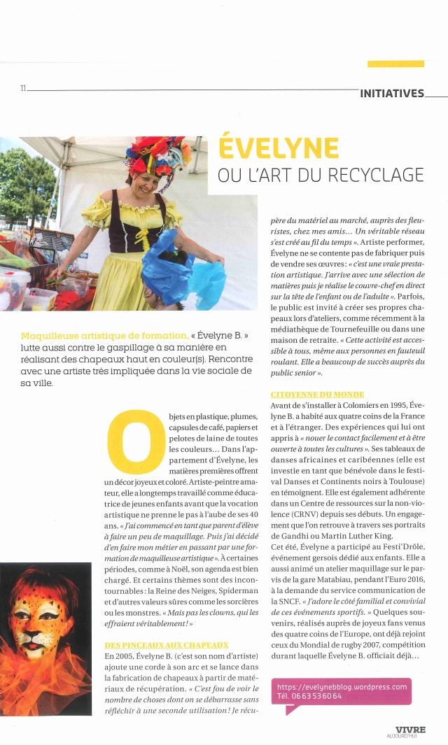 Evelyne B ou l'Art du Recyclage article sept 2016